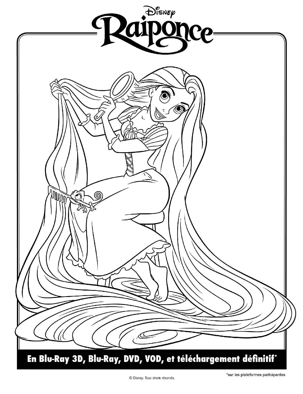 dessin à colorier raiponce walt disney