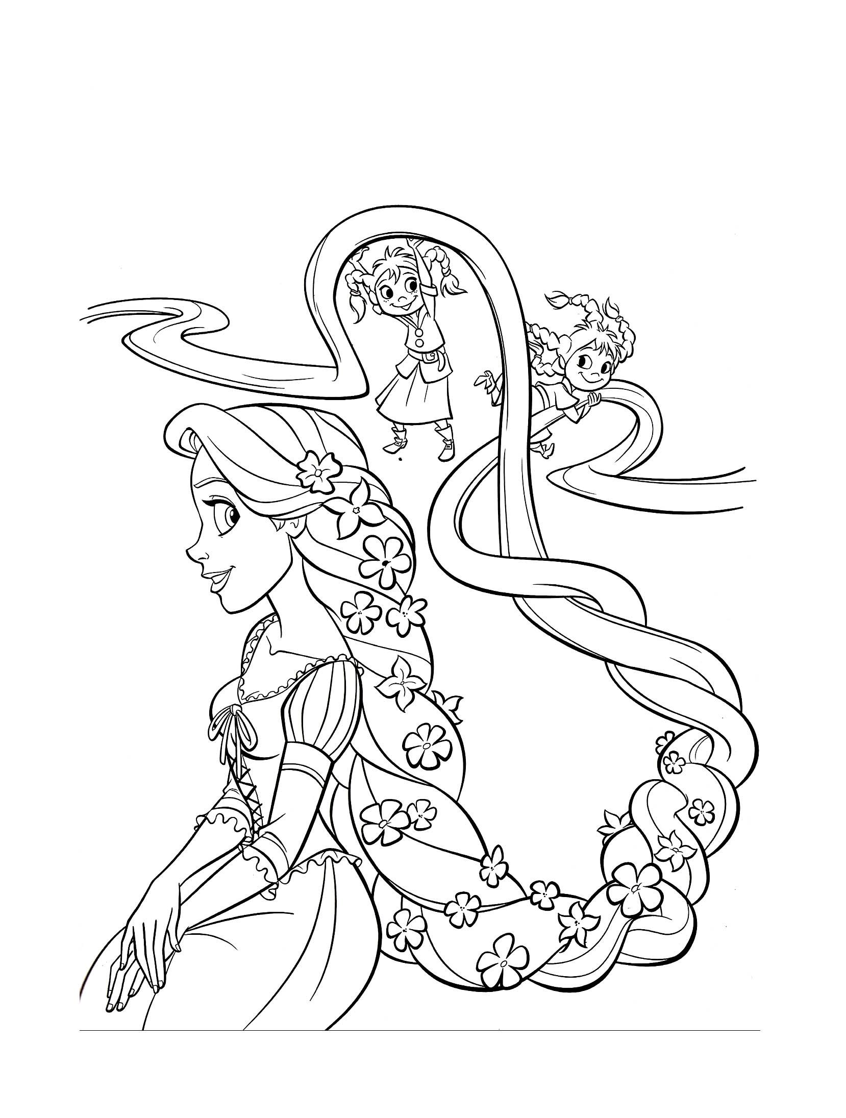coloriage dessiner raiponce et ariel