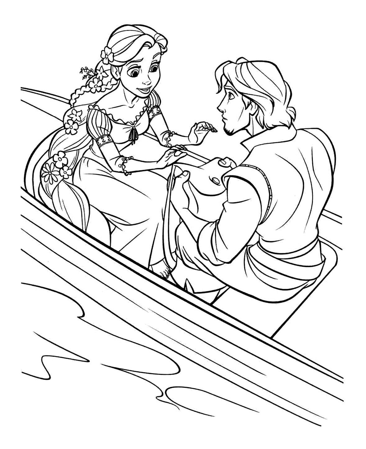 dessin colorier de raiponce et son prince