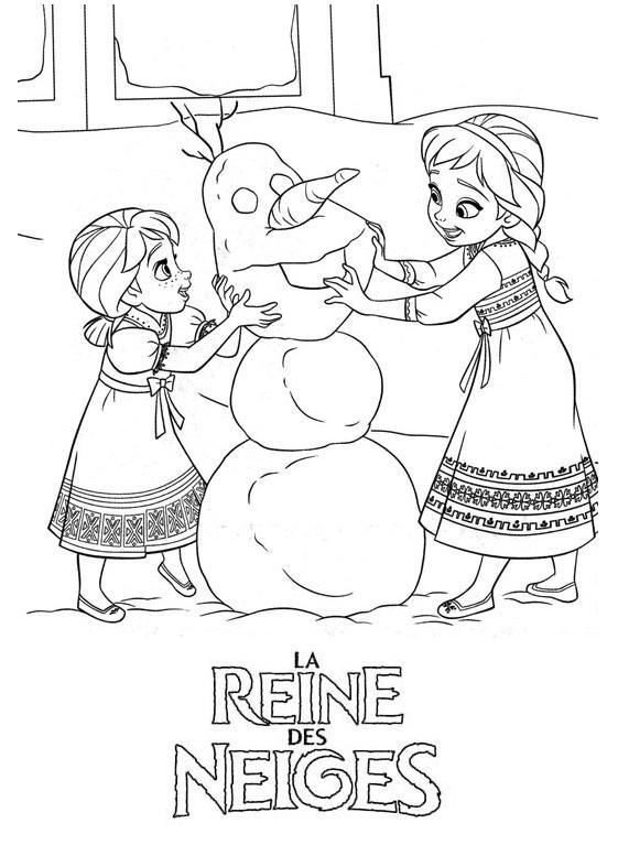 coloriage à dessiner reine des neiges olaf