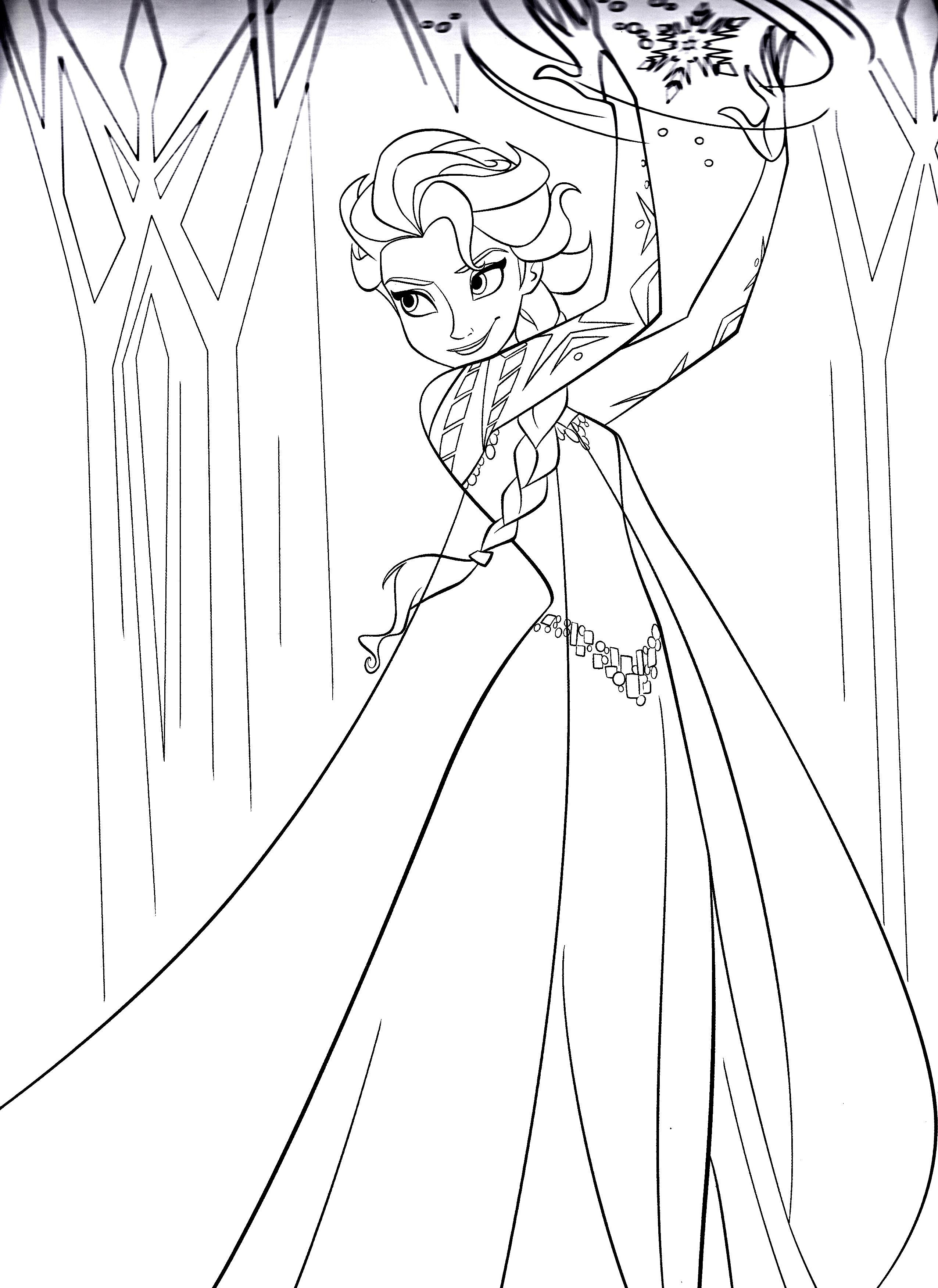 dessin à colorier reine des neiges en ligne gratuit
