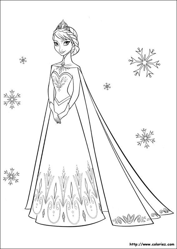 coloriage à dessiner bonhomme de neige reine des neiges