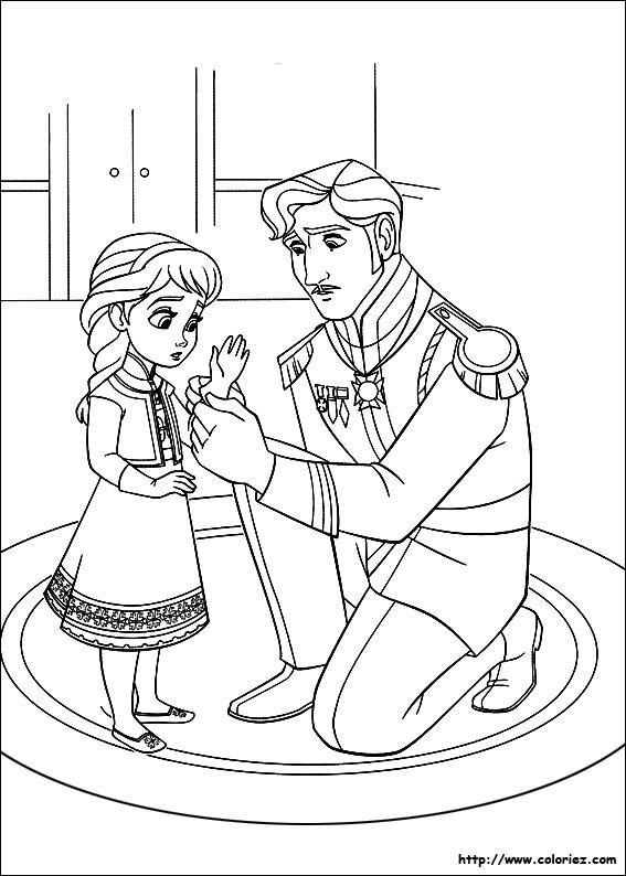 dessin à colorier reine des neiges jeux