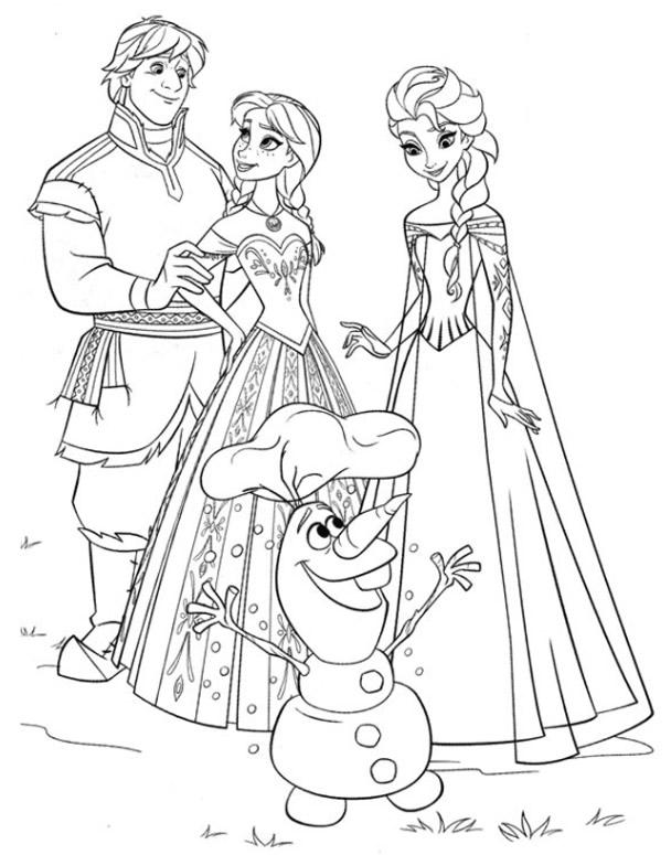 dessin à colorier reine des neiges en couleur