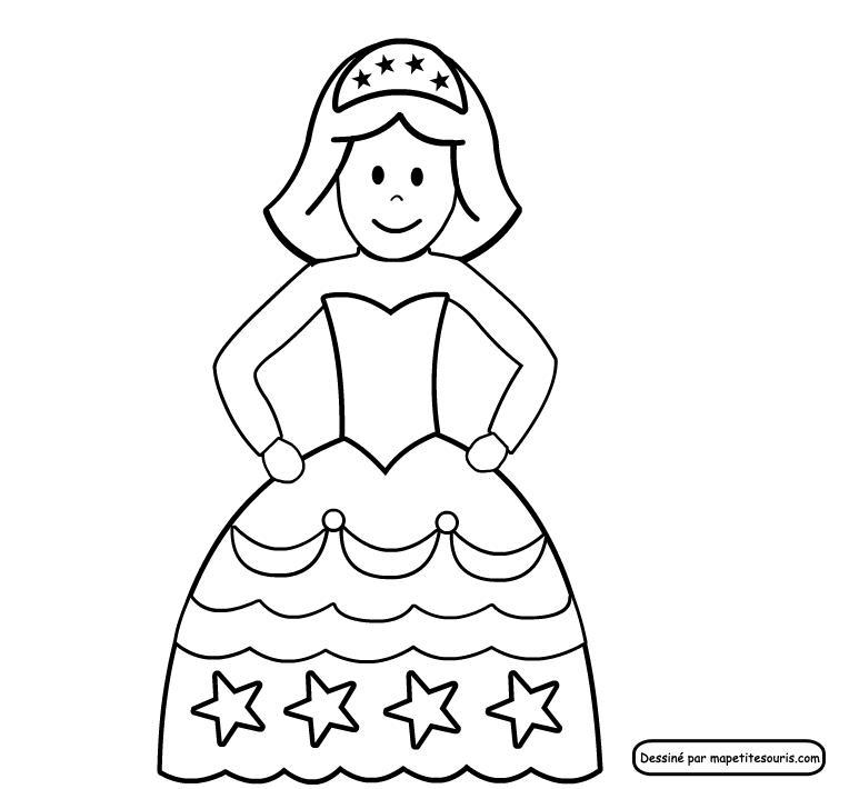 dessin à colorier couronne reine