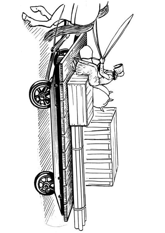 coloriage tracteur remorque foin