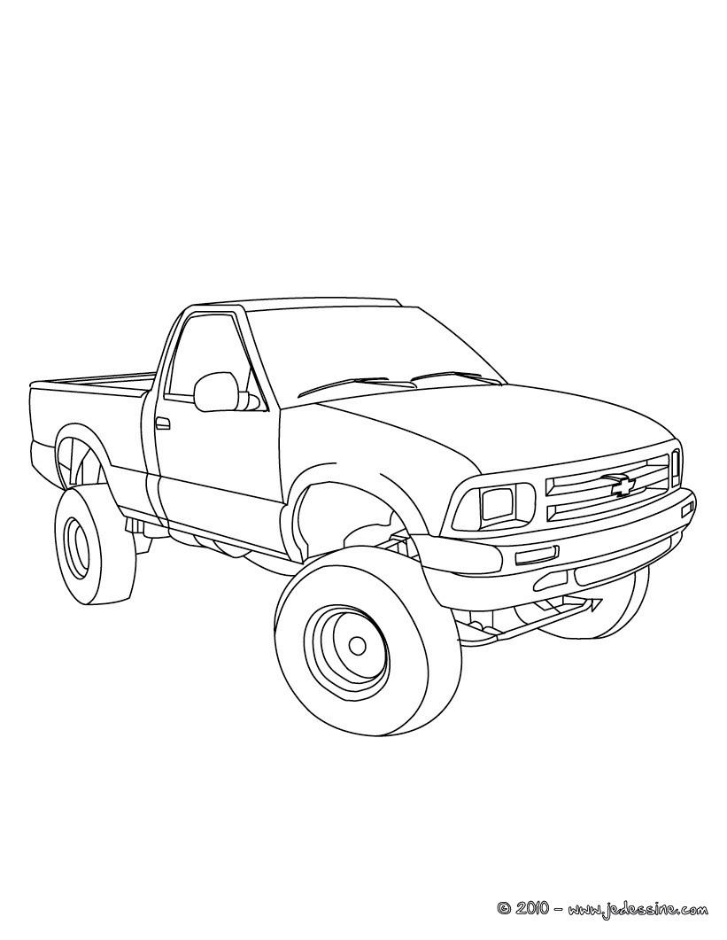 coloriage camion remorque imprimer