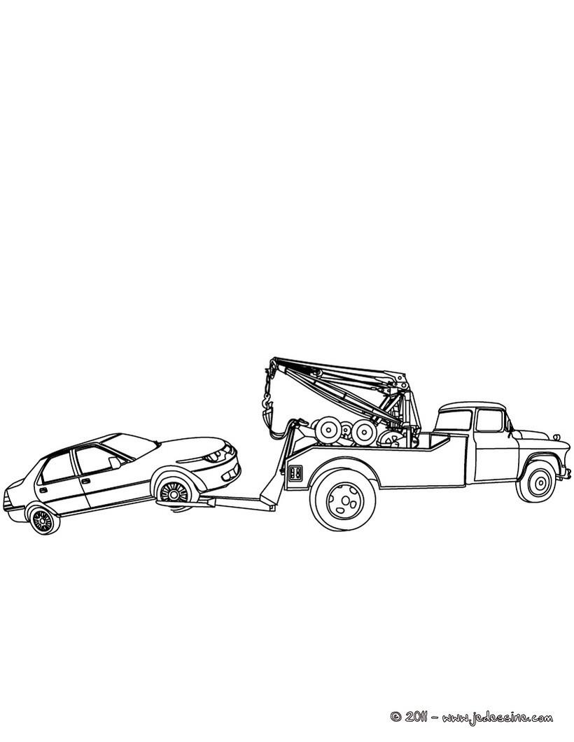 coloriage voiture et remorque