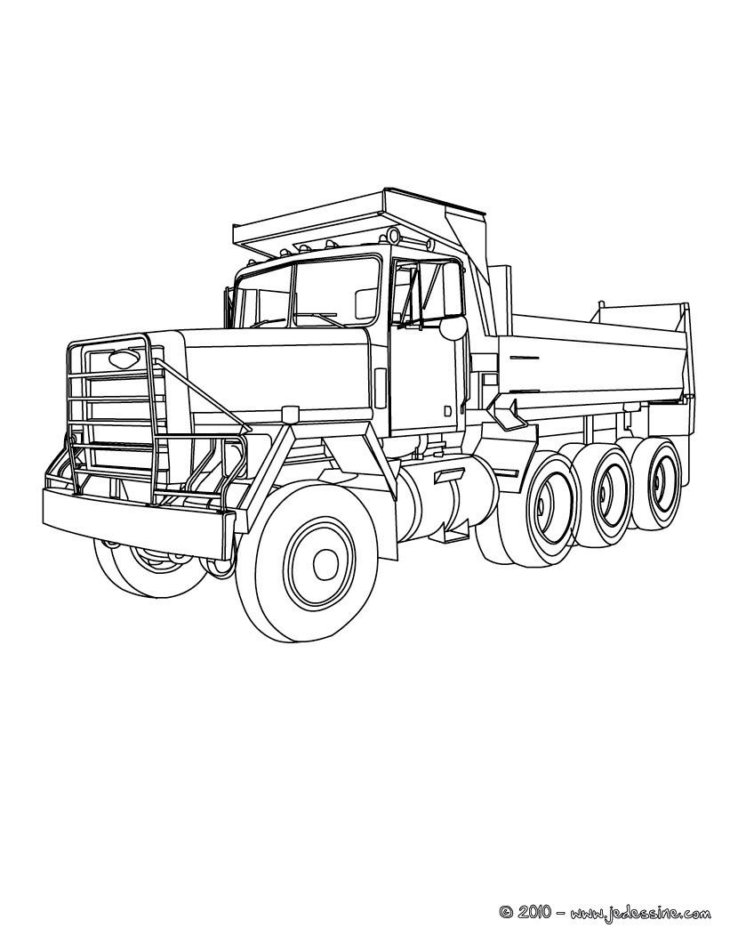 12 dessins de coloriage remorque imprimer - Dessin de camion americain ...