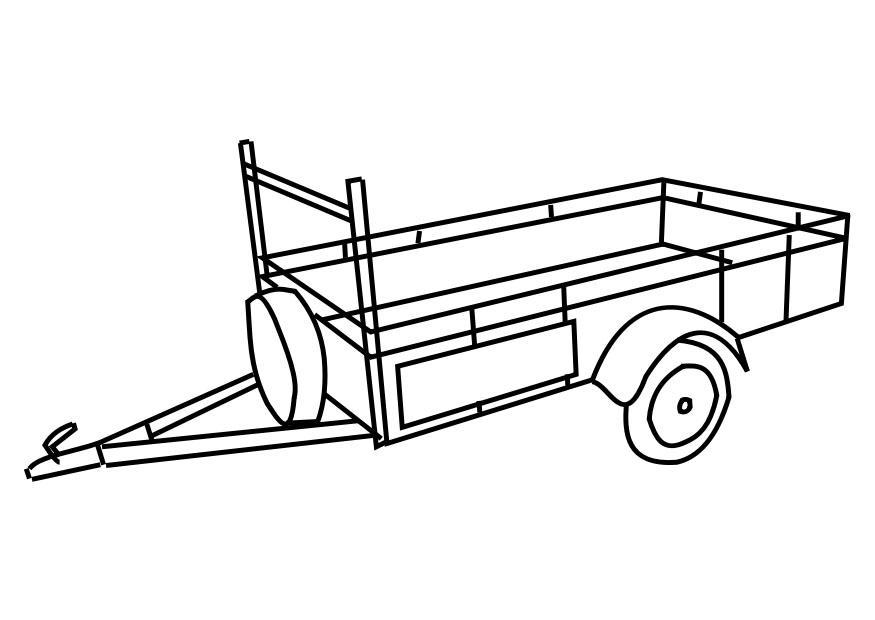 coloriage camion americain avec remorque