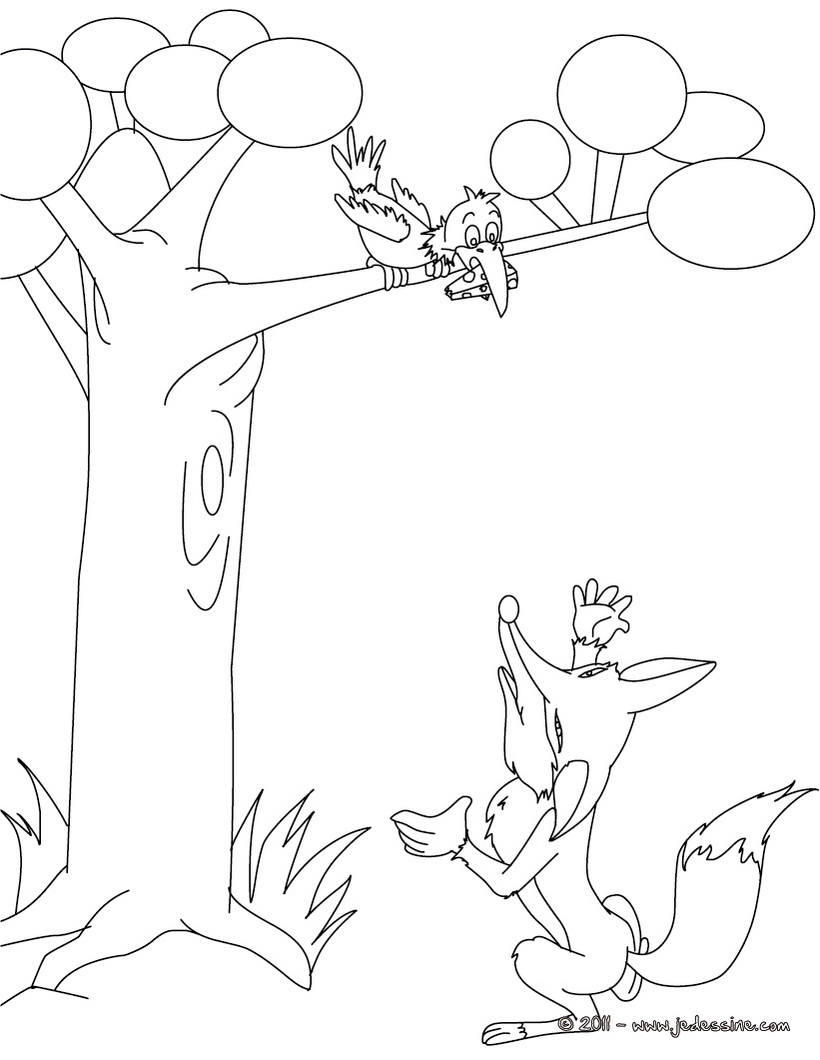 Coloriage corbeau renard - Coloriage renard a imprimer ...