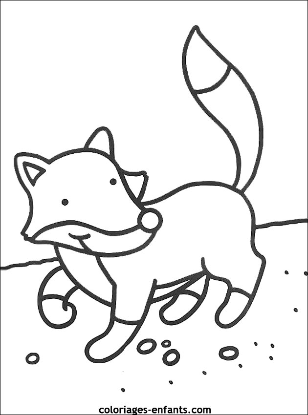 Colorier un renard - Renard en dessin ...