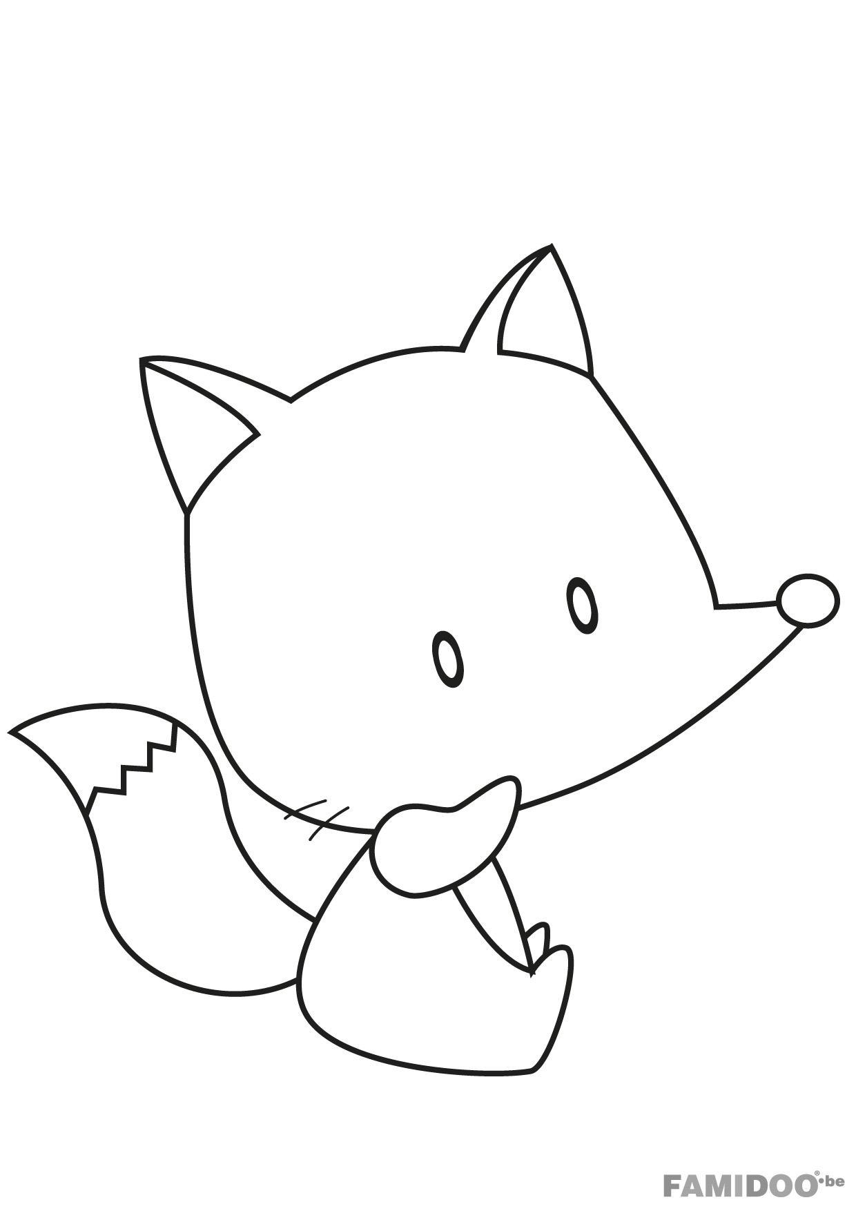 dessin � colorier renard assis