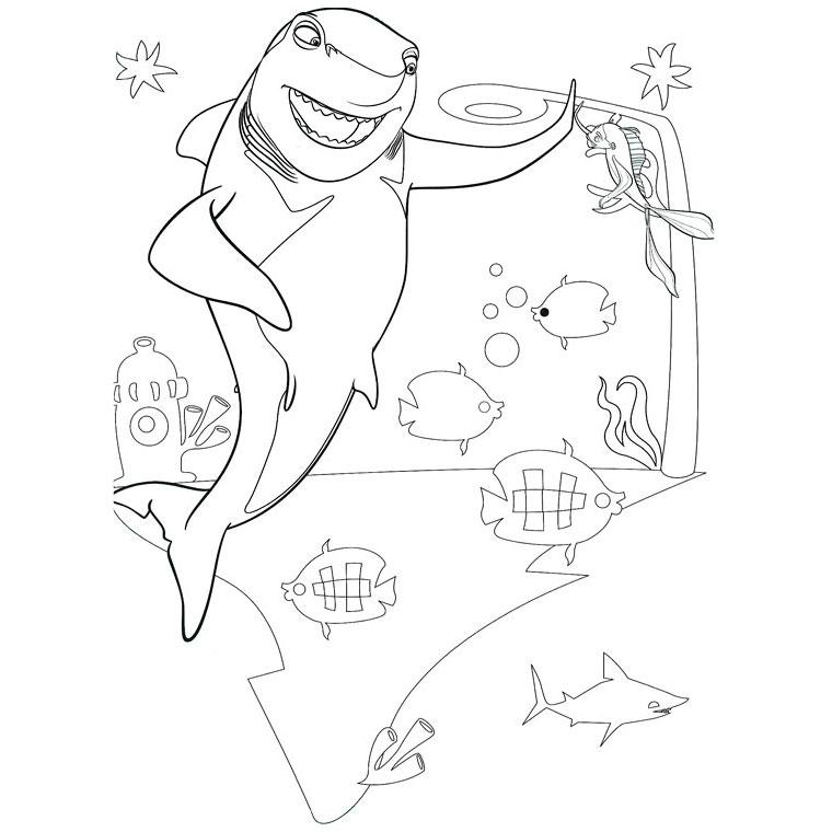 dessin à colorier requin dans la mer