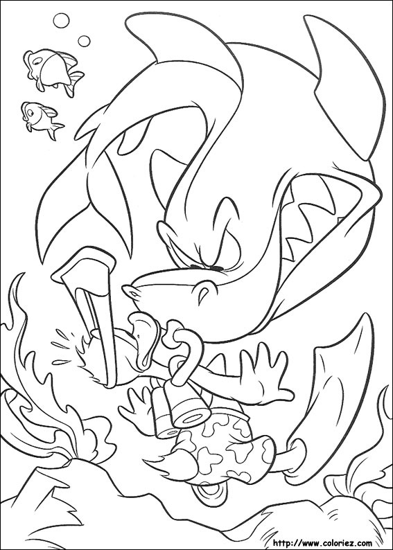 coloriage requin mer
