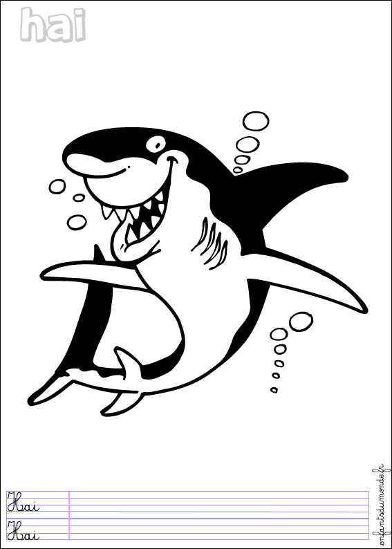 imprimer coloriage requin