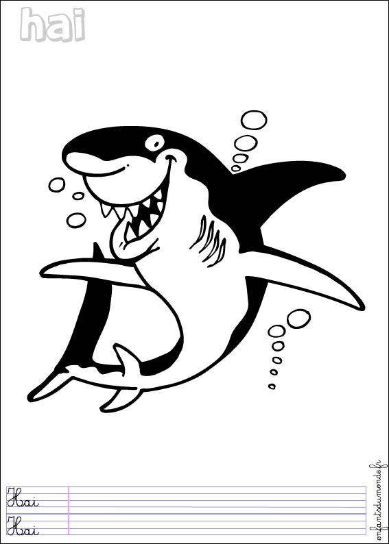 coloriage à dessiner de requin blanc a imprimer