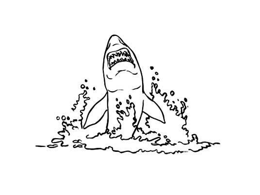 dessin à colorier requin mer