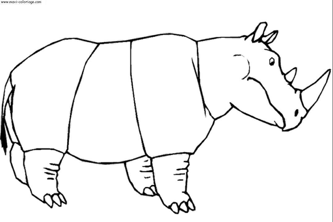 coloriage rhinocéros en ligne