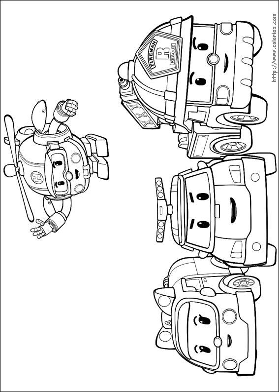 Dessins de coloriage robocar poli gratuit à imprimer