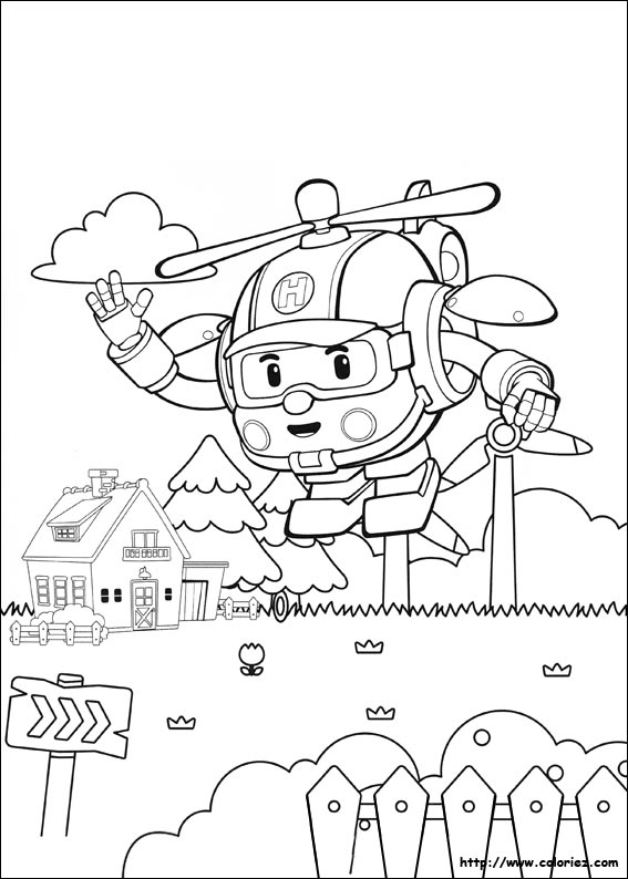 5 dessins de coloriage robocar poli heli imprimer for Robocar poli da colorare