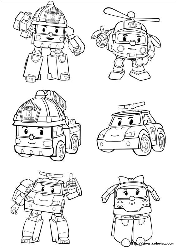5 dessins de coloriage Robocar
