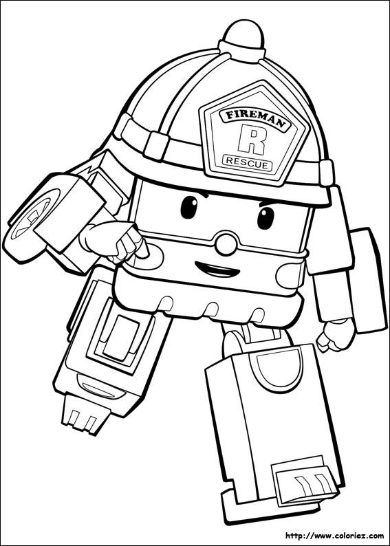 Dessin colorier de robocar poli a imprimer - Dessin anime de robocar poli en francais ...