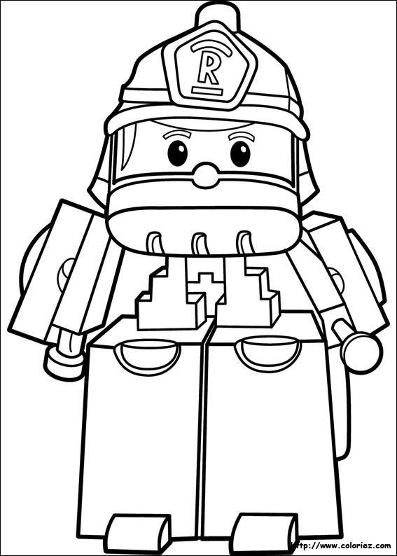 dessin à colorier robocar poli cracra