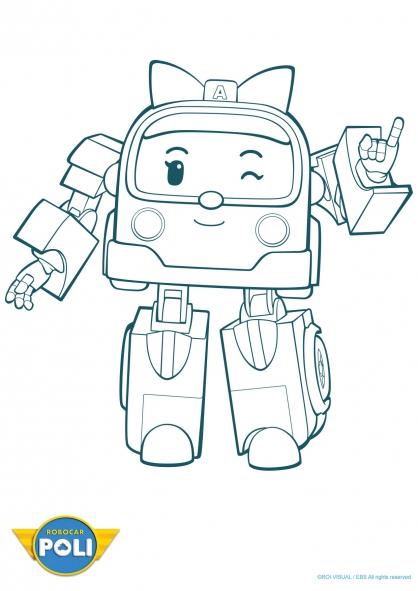 dessin de robocar poli ambre
