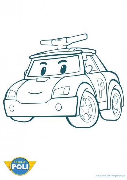 dessin à colorier robocar poli gratuit