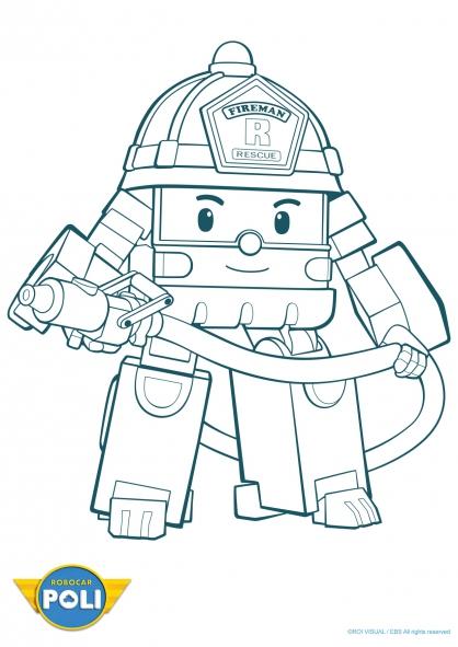 dessin à colorier robocar poli à imprimer gratuit