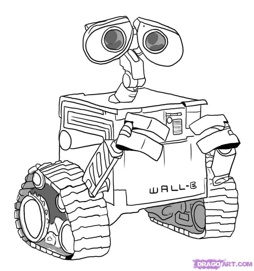 20 dessins de coloriage Robot Wall E à imprimer
