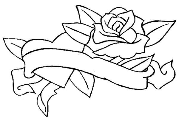 Dessin rose et coeur - Rose coloriage ...