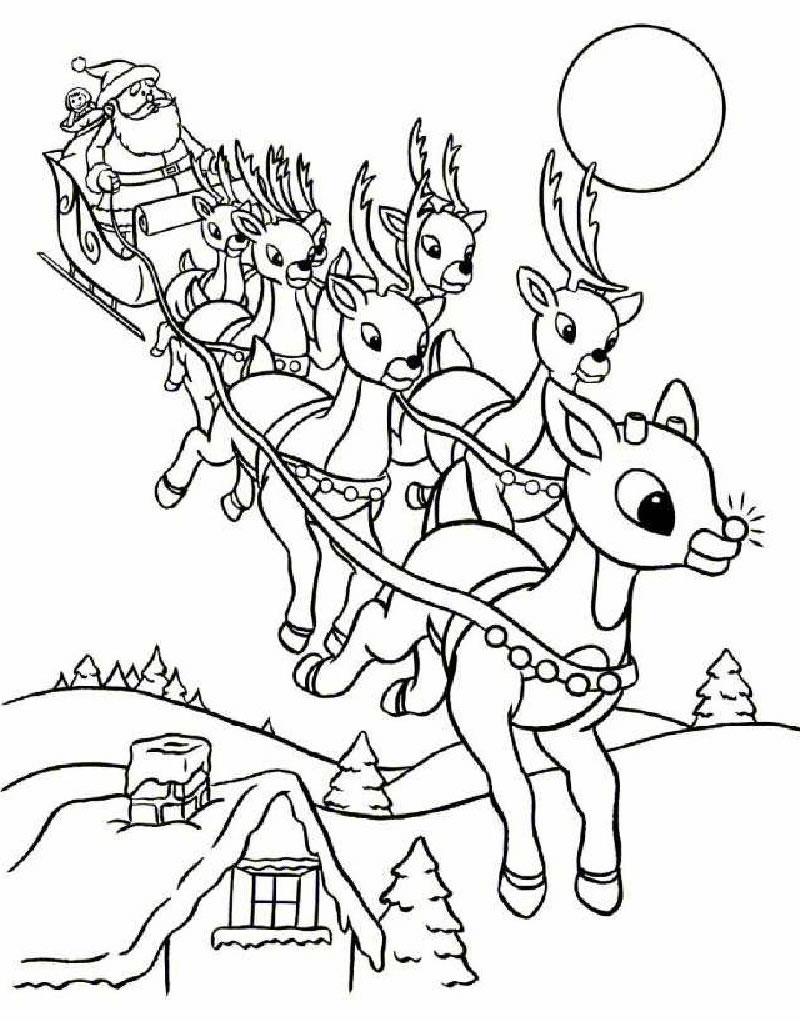 coloriage à dessiner rudolph