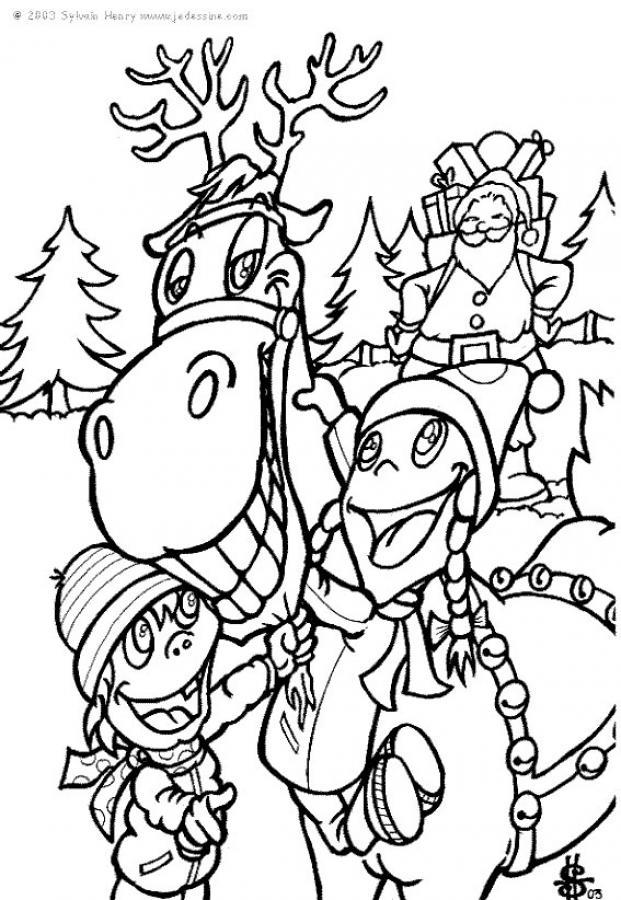 coloriage à dessiner rudolph renne au nez rouge