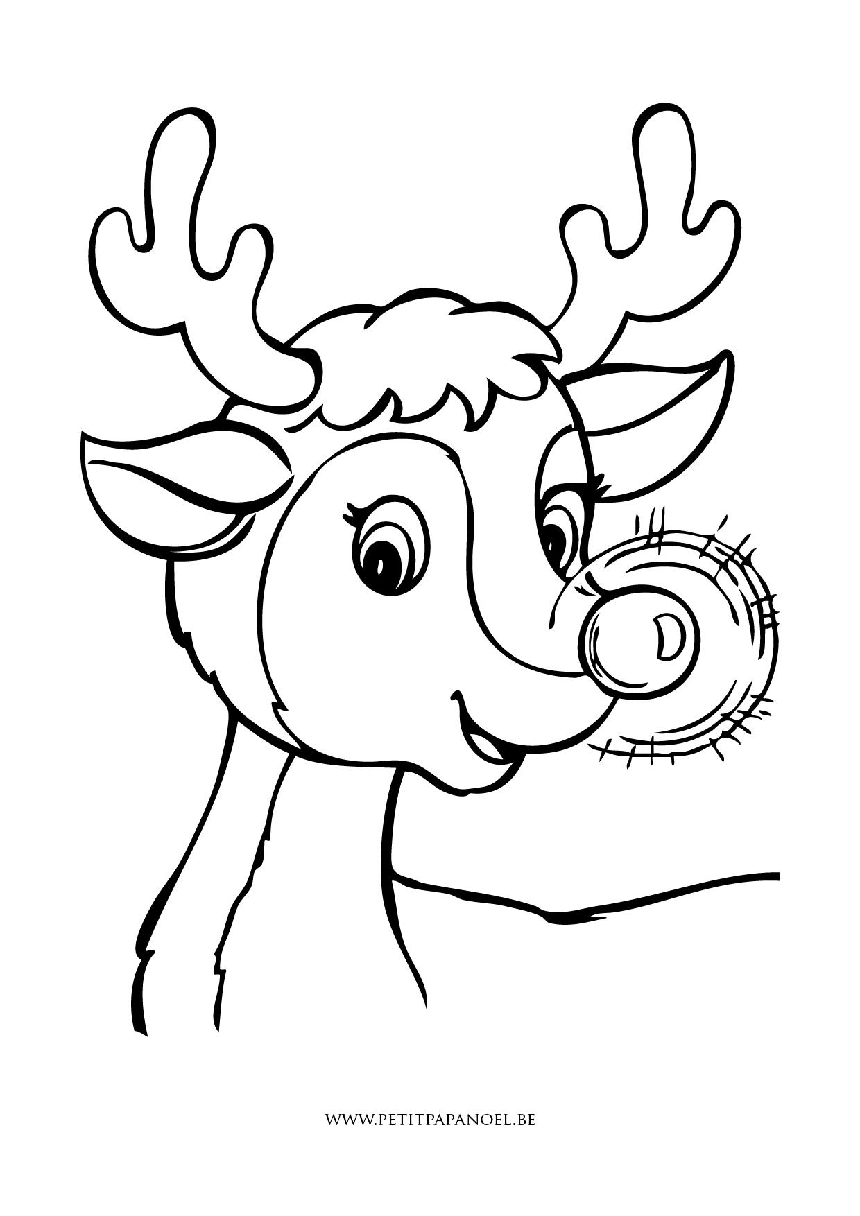 dessin à colorier rudolph renne nez rouge