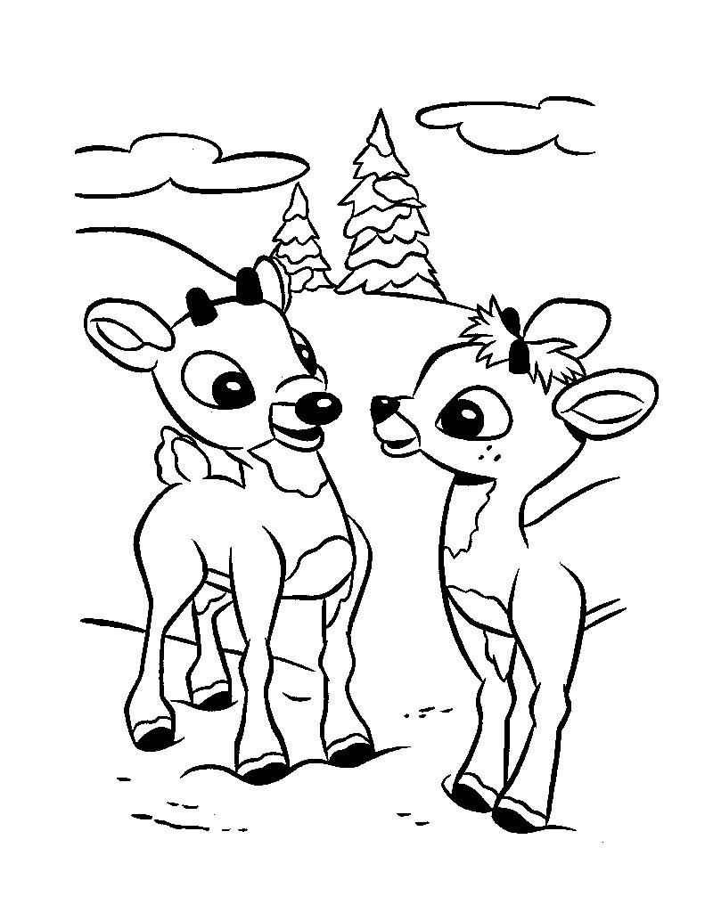 dessin à colorier rudolph petit renne nez rouge