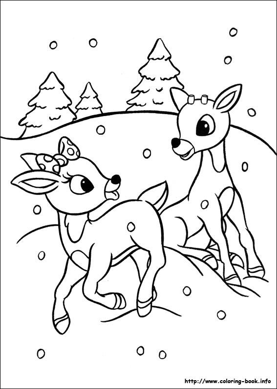 dessin à colorier rudolph le renne au nez rouge