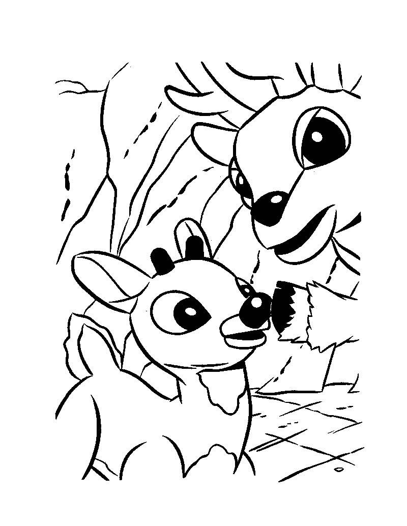 dessin à colorier rudolph renne au nez rouge