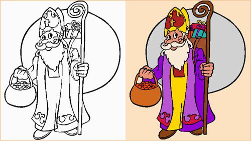 dessin à colorier mitre de saint nicolas