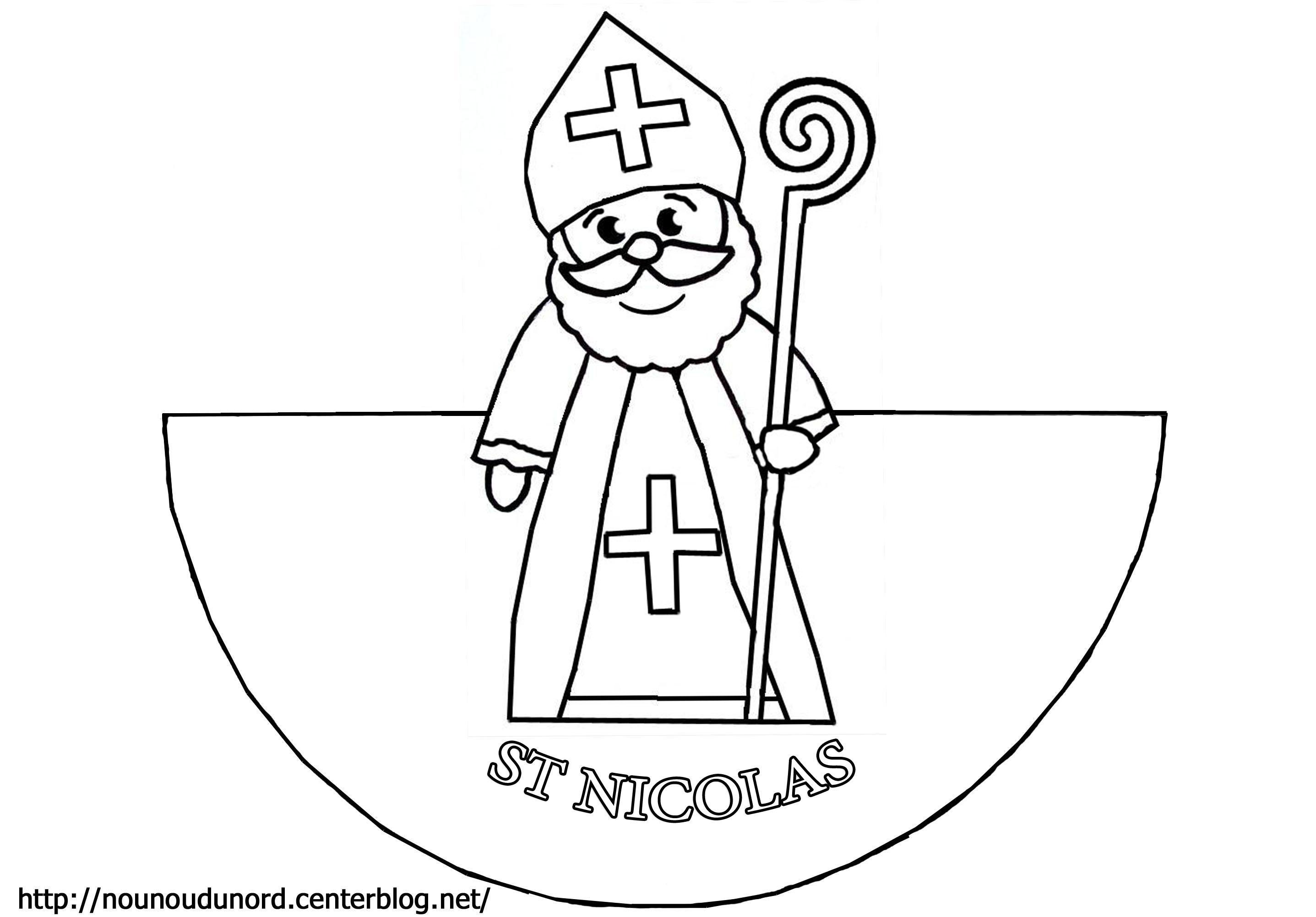 dessin à colorier saint nicolas et père fouettard