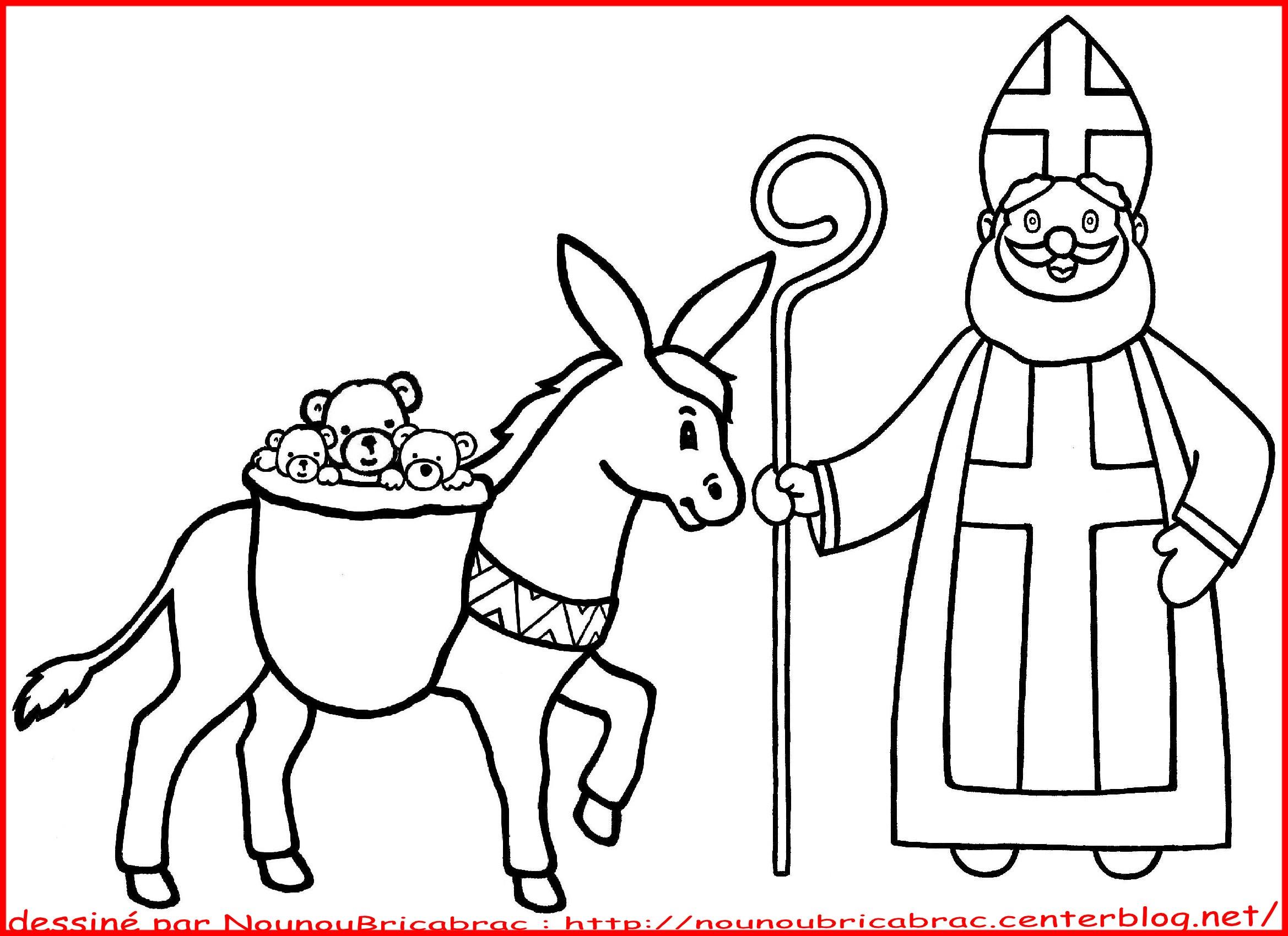 coloriage à dessiner saint nicolas et le père fouettard