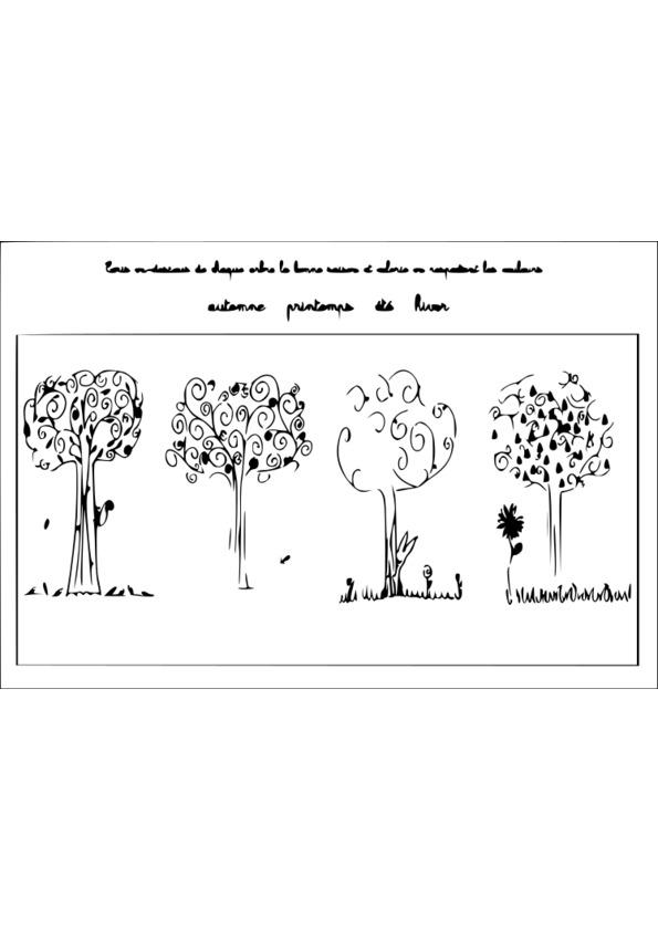 Coloriage arbre 4 saisons - Dessin 4 saisons ...