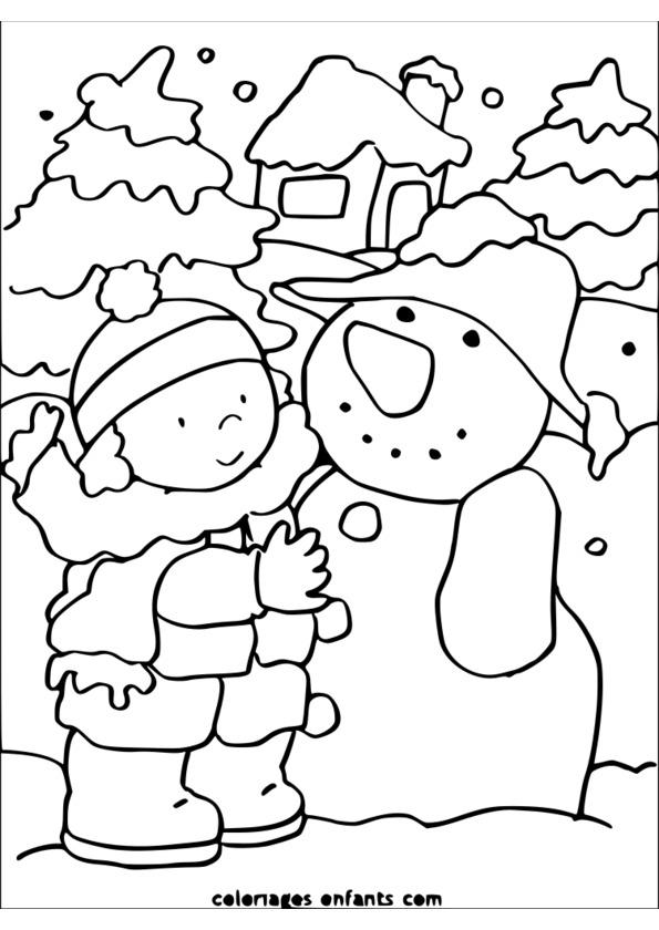coloriage la saison d'hiver