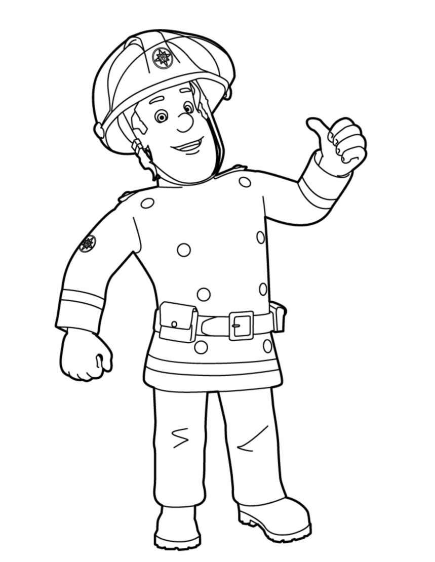 coloriage à dessiner sam le pompier piwi