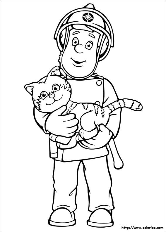 coloriage sam le pompier gratuit en ligne