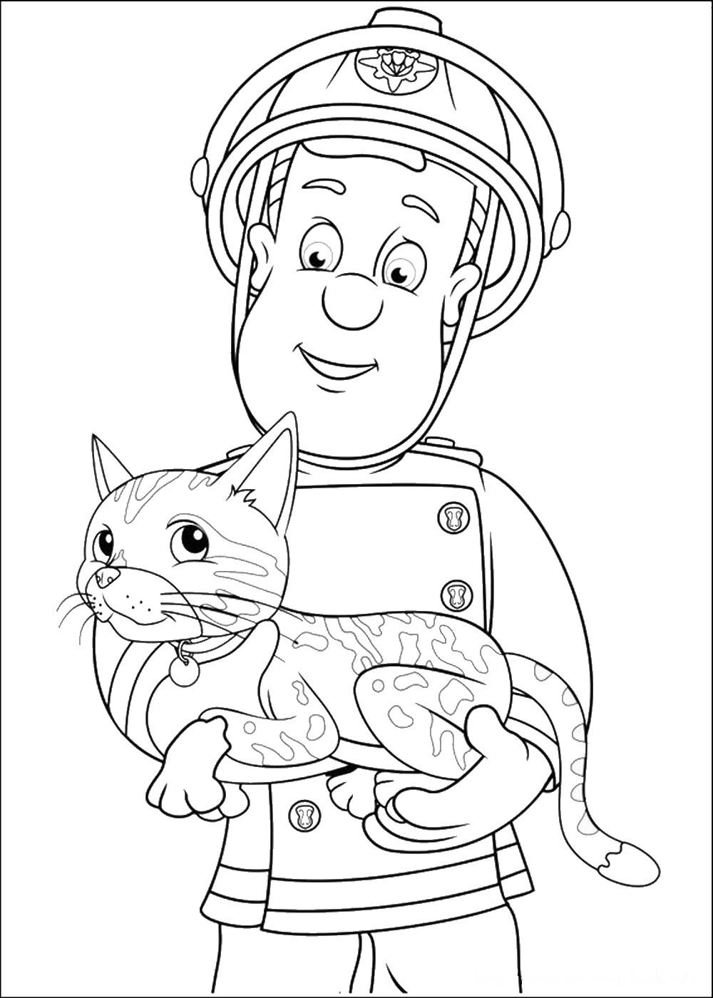 dessin � colorier sam le pompier noel