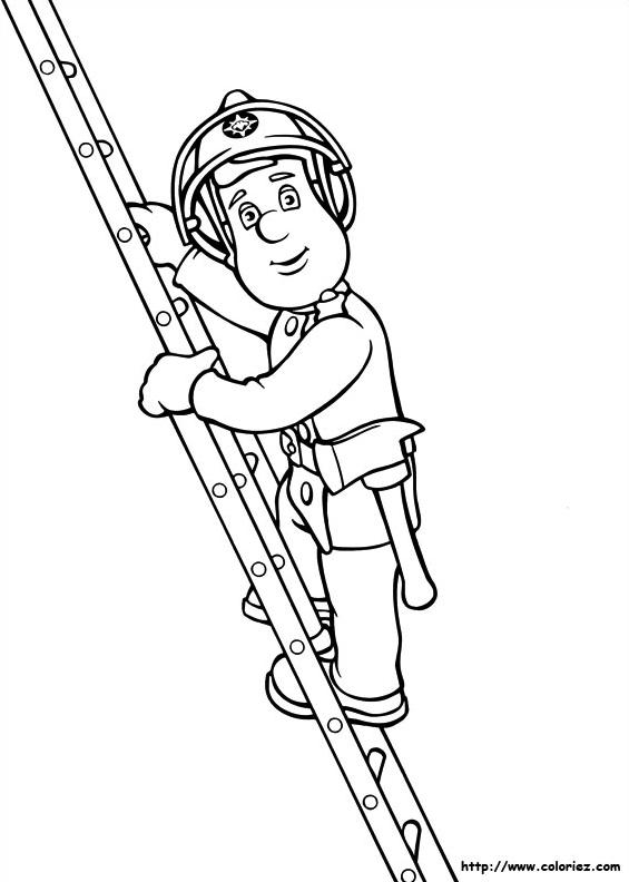 dessin à colorier de sam le pompier sur piwi
