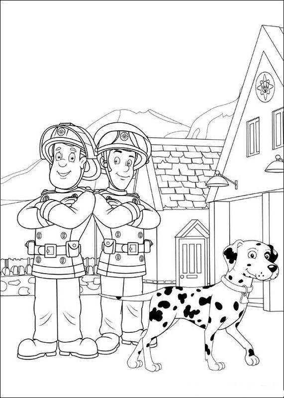 dessin à colorier de sam le pompier sur l'ordinateur