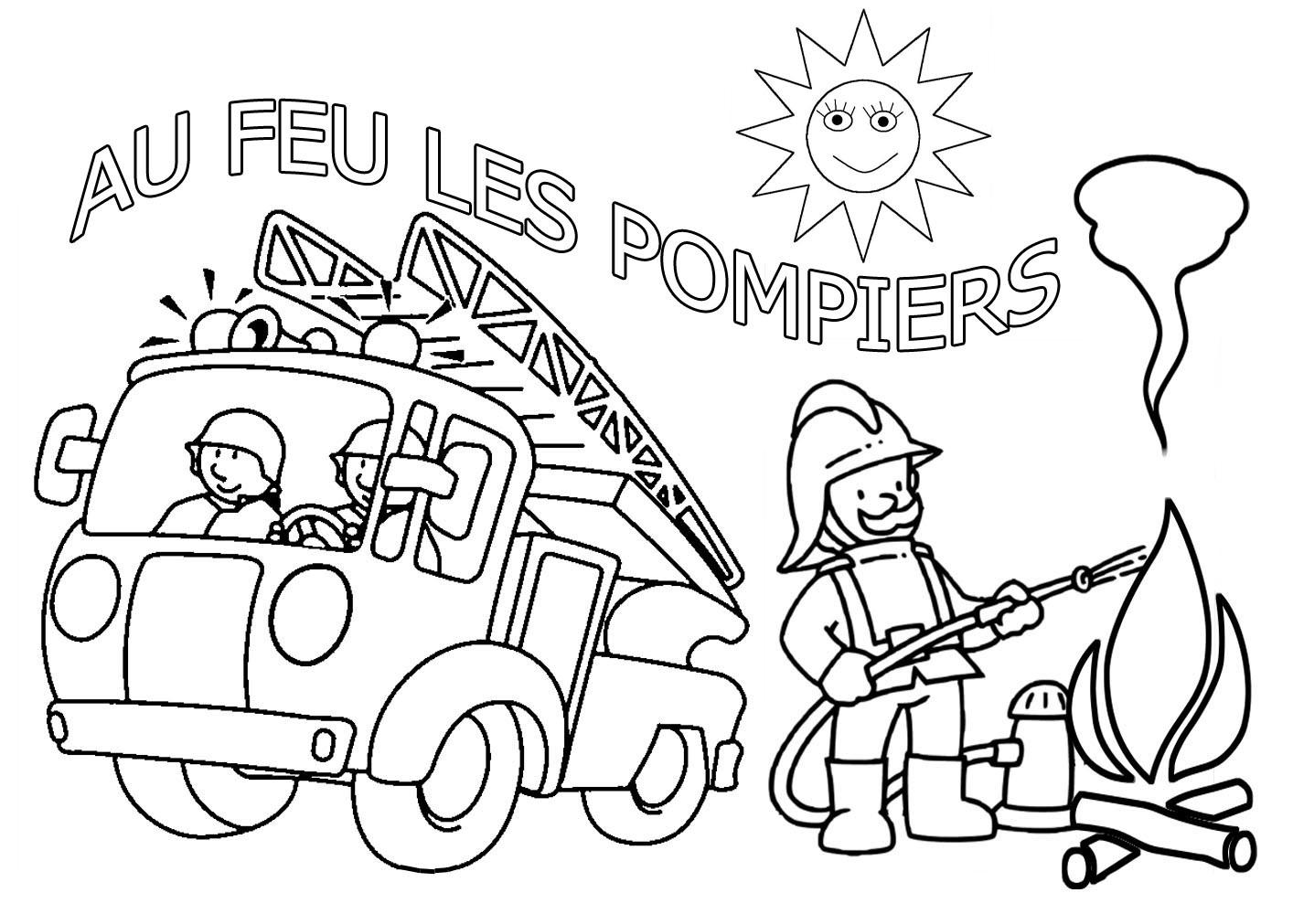 Coloriage dessiner sam le pompier gratuit en ligne - Dessiner un camion de pompier ...